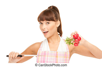 housewife with big knife and radish - picture of beautiful...