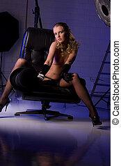 beautiful naked model in photo studio