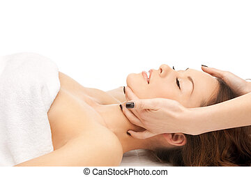 beautiful woman in massage salon