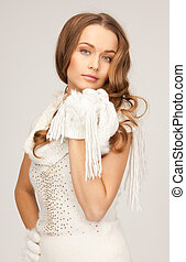 beautiful woman in white gloves - picture of beautiful woman...