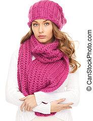 beautiful woman in winter hat
