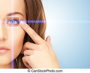 beautiful woman pointing to eye - picture of beautiful woman...