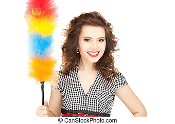 picture of beautiful woman with cleaning sweep