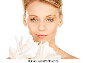 beautiful woman with madonna lily - picture of beautiful...