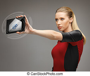 woman with tablet pc and email icon - picture of beautiful ...