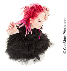 pink hair girl - picture of bizarre pink hair girl over ...