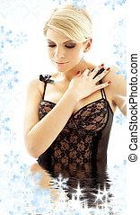 black lingerie blonde in water