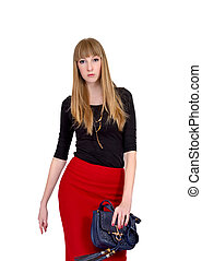 blonde in the office red skirt on a white background