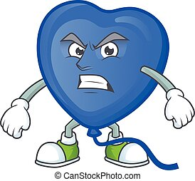 Picture of blue love balloon cartoon character with angry face