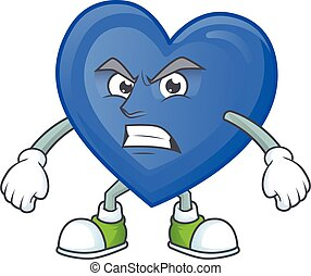 Picture of blue love cartoon character with angry face
