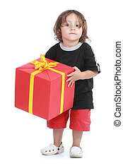 boy with big gift box