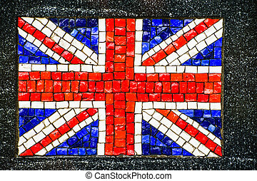 British flag made of little mosaic tiles