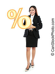 Picture of businesswoman holding sign of percent