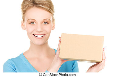 businesswoman with parcel - picture of businesswoman with ...