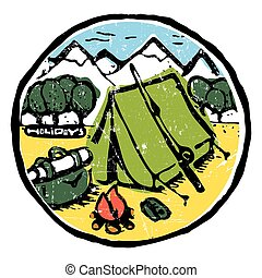 Picture of  camping in the woods. Nature and resting. Emblem, label.