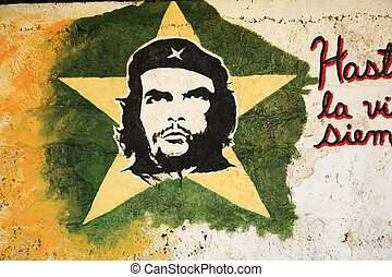 Picture of Che Guevara on a wall in Cuba