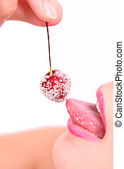 picture of cherry, lips and tongue