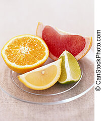 Citrus Fruit on Plate - Picture of Citrus Fruit on Plate