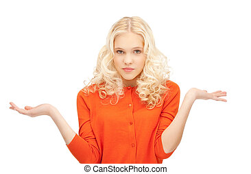 woman shrugging helpless with her shoulders
