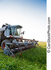 Picture of combine harvester in field