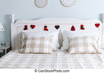 Picture of comfortable double bed in bedroom