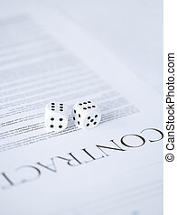 contract paper with gambling dices - picture of contract ...