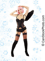 dancing black lingerie angel with pink hair and snowflakes