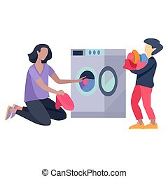 Picture of family cleaning on a white background. Vector illustration.