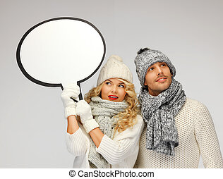 family couple with blank text bubble