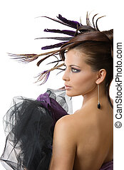 beautiful hairstyle - Picture of fashionable model with...