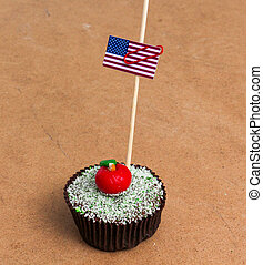 picture of flag of USA on a cupcake