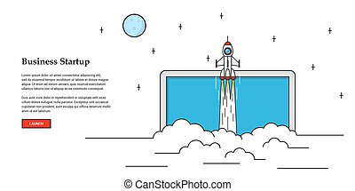 business startup banner - Picture of flying rocket, business...