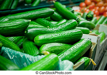 Picture of fresh cucumber, tomatoes and other vegetables