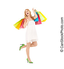 woman with shopping bags - picture of funny woman with ...