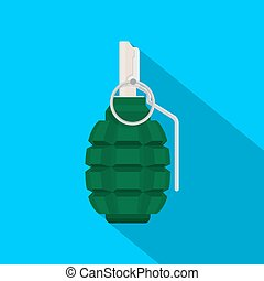 grenade - picture of green grenade on blue background, flat...