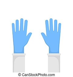 Picture of hands with mittens on a white background. Vector illustration