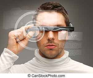 man with futuristic glasses - picture of handsome man with ...