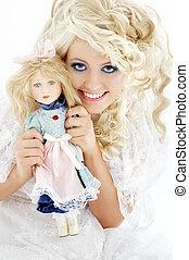 happy bride with doll