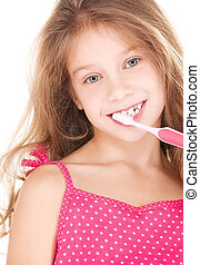 happy girl with toothbrush