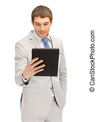 happy man with tablet pc computer