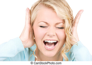 happy screaming woman
