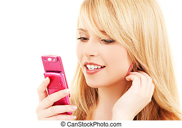 happy teenage girl with cell phone - picture of happy ...
