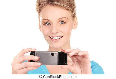picture of happy woman using phone camera