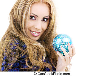 happy woman with blue christmas ball