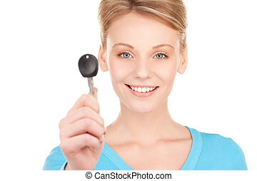 happy woman with car key