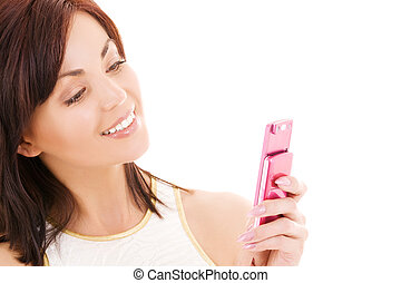 happy woman with cell phone - picture of happy woman with...