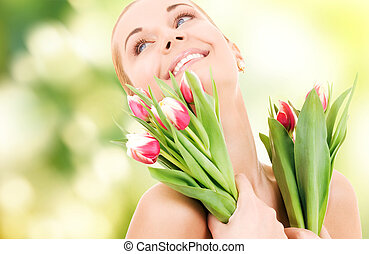 happy woman with flowers