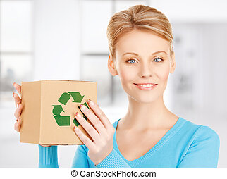 woman with recyclable box - picture of happy woman with ...
