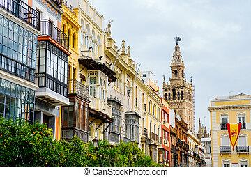 historic buildings along the Plaza de San Francisco in Seville, Spain