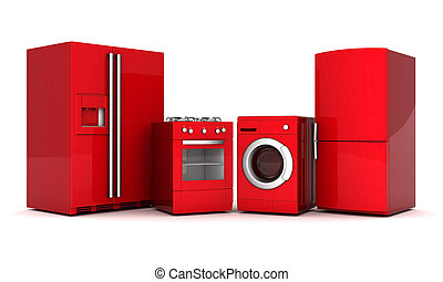 picture of household appliances on a white background
